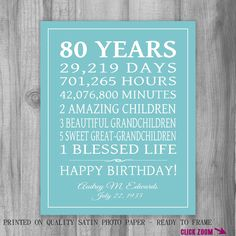 80th BIRTHDAY GIFT 80 Years Sign Personalized Gift Art Print Gift for Mom Grandma Gift Print or Digital Download Keepsake Custom by PrintsbyChristine on Etsy https://www.etsy.com/listing/234169164/80th-birthday-gift-80-years-sign