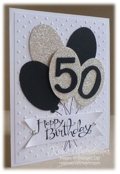 This birthday card could be used for any birthday, just change the colors and numbers and looks like it would be quick to make!: