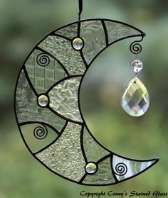 Patchwork Moon Stained Glass Suncatcher