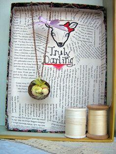 Birdies in a Basket Necklace by TruleeDarling on Etsy, $20.00