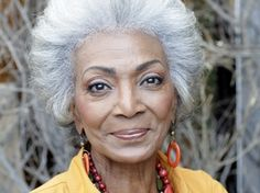 The Star Trek character played by Nichelle Nichols broke racial barriers on TV, and when she thought of quitting the. Beautiful Old Woman, Black Is Beautiful, Beautiful People, Nichelle Nichols, Super Mamie, Natural Hair Styles, Short Hair Styles, Pelo Pixie, Advanced Style