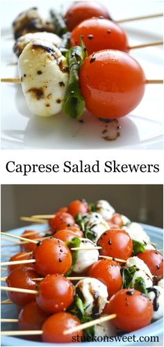 Caprese Salad Skewers Caprese Salad Skewers - perfect for . Caprese Salad Skewers Caprese Salad Skewers – perfect for a party! Caprese Salad Skewers, Tomato Mozzarella Skewers, Caprese Salad Recipe, Fruit Skewers, Recipe For Caprese Skewers, Veggie Skewers, Chicken Kabobs, Food Salad, Fresh Mozzarella