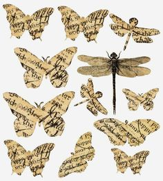 How to make vintage-style paper butterflies - Give Details Papel Vintage, Decoupage Vintage, Decoupage Paper, Vintage Paper, Butterfly Images, Butterfly Crafts, Butterfly Art, Vintage Scrapbook, Scrapbook Paper