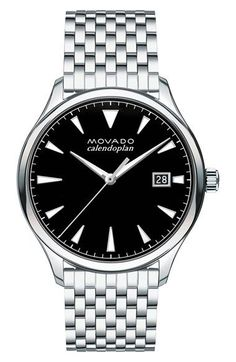 Free shipping and returns on Movado Heritage Calendoplan Bracelet Watch, 40mm at Nordstrom.com. Sharp luminous hands and triangular hour markers boost the modern design of a precise Swiss-quartz timepiece with a polished brick-link bracelet.