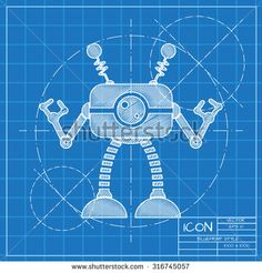 Vector blueprint retro robot toy icon on engineer or architect background.