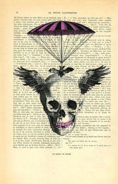 Steampunk skull Skull Vintage Dictionary Art by MadameMemento