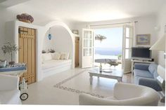 luxury villa in Mykonos island, Greece. Style At Home, Greek Decor, Greek House, Luxury Villa Rentals, Interior Decorating, Interior Design, Mediterranean Homes, Home Fashion, My Dream Home