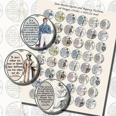Images,Digital,Stickers,Collage,Illustration,jane austen,pride and prejudice,quote,bottle cap,bottlecap,la belle assemblee,regency fashion