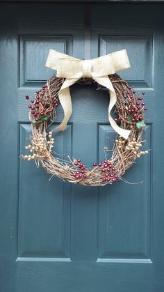 Burgundy and gold twig holiday wreath by LilPiecesOfBigIdeas