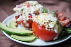 Breadless Tuna Melt in a Tomato. Breadless Tuna Melt in a Tomato (low-carb high protein no mayo) Tuna Recipes, Seafood Recipes, Low Carb Recipes, Cooking Recipes, Healthy Recipes, Tuna Stuffed Tomatoes, Stuffed Peppers, Clean Eating, Healthy Eating