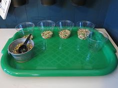 Counting scoops of bird feed into numbered cups!  Man, I wish I would have kept my bird feed from our bird unit.  Shucks!