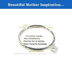 Beautiful Mother Inspirational with Heart Charm Silver Tone Bangle Bracelet. Mom, Daughter, Sister, Best Friend, Grandma, Inspirational, Girl, Woman, Pandora Style, Morano Beads, Magentic, Stretch, Lobster Clasp, Bangle, Cuff, Bangle, Cute, Girl, Breast Cancer, Animal, Garden, Sea Life, Christian, Family Theme, Pink is the color of Strength, The ribbon is a symbol of Hope, Together it is a sign of Victory. School Teacher, Animal, Garden, Salt Life, Dolphin, Whale, Sand Dollar, Anchor...