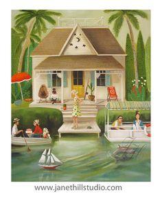 June Everheart's Splendid Summer Home.  Art di janethillstudio, $26.00