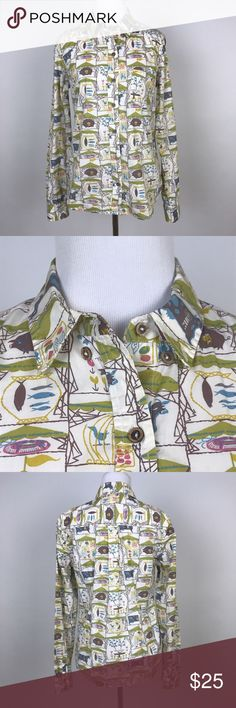 """[Anthropologie] Odille Tarpan Farm Animals Shirt 6 Long sleeve button down shirt by Odille from Anthropologie. Farm animal print in retro colors. Etched wooden looking buttons.   🔹Pit to Pit: 18"""" 🔹Length: 25"""" 🔹Condition: Excellent pre-owned condition.  *O8 Anthropologie Tops Button Down Shirts"""