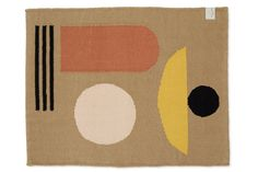 "*Will be restocked soon. We will make this available for pre-order once we have a confirmed ship date from the factory. Sign up for the newsletter to be notified when available.* The Arco bath rug is named after the 1970's ""future-city"" called Arcosanti in Arizona. Architect Paolo Soleri used circles and other organic shapes to tell a story about how humans could coexist with nature in a modern, low-impact way. Our 100% cotton Kilim bath rug is inspired by these same graphic shapes and the… Palette, Color Studies, Organic Shapes, Bath Rugs, Minimalist Art, Photo Displays, Rug Making, How To Do Yoga, Hand Weaving"