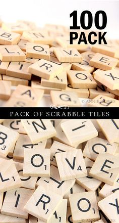 vintage wooden scrabble tiles or game pieces set of 100 craft