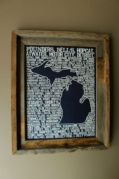 Beers of Michigan Word Map by fortheloveofmaps on Etsy, $22.00.  I wish I had a basement bar!
