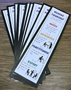 Formative Assessment Bookmarks - similar to the paint chip strip idea of pinching to indicate their level of understanding