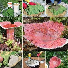 DIY bird bath project ideas for summer garden decor. Tutorial for making bath for garden birds at home with used pots and used containers Cool Art Projects, Outdoor Projects, Diy Projects, Garden Crafts, Garden Projects, Diy Crafts, Yard Art, Handmade Ottomans, Concrete Leaves