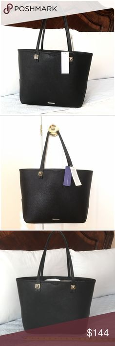 """Authentic Rebecca Minkoff Tote Authentic! Gorgeous black tote from Rebecca Minkoff 💕 Lightweight and very spacious! Approximate measurements: NOT EXACT 15 1/2"""" x 10"""" x  5"""" Strap dropped is about 9 1/2"""" (very comfortable) It has pockets and compartments inside. This is new, tag still attached, never used and in excellent condition (minor scratches on hardware from storing) Your every day tote 💕 NO TRADE ❌ Rebecca Minkoff Bags"""