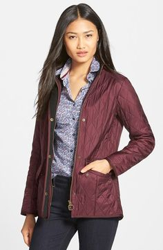 Barbour 'Cavalry' Quilted Jacket available at Barbour Jacket Women, Barbour Quilted Jacket, Vest Jacket, Bomber Jacket, London Look, Business Outfits, Business Clothes, Nordstrom Anniversary Sale, Urban