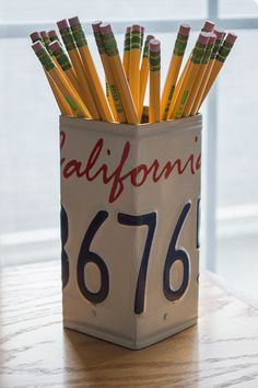 California License Plate Pencil Holder - Pencil Cup - Unique Pencil Cup - Desk Accessories - Office Decor - California License Plate by byDadandDaughter on Etsy https://www.etsy.com/listing/210746909/california-license-plate-pencil-holder