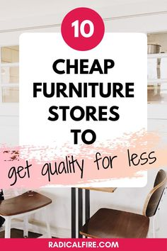 The cost of furnishing any space depends on where you source the furniture. Finding the best cheap furniture stores will substantially reduce the cost of furnishing your house or apartment. But how do you know where to find the best cheap furniture stores? Here's exactly how! #savemoney #frugalliving #fruglnotcheap #moneyhacks Cheap Furniture Stores, Quality Furniture, Save Money On Groceries, Ways To Save Money, Money Saving Challenge, Money Saving Tips, Budgeting Finances, Budgeting Tips, Financial Planning For Couples