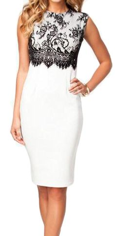 Pandapang Womens Lace Splice Bodycon Sleeveless Elegant Formal Dress *** Visit the image link more details. (This is an affiliate link and I receive a commission for the sales)