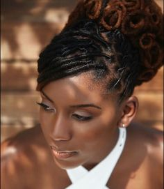 "iamlocd: ""Be inspired by this beautiful locupdo by Congrats on your special day❤ Short Locs Hairstyles, African Hairstyles, Bride Hairstyles, Black Wedding Hairstyles, Dreadlock Styles, Dreads Styles, Bridal Hair Updo, Bridal Hair And Makeup, Bridal Gown"