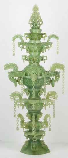"A Chinese Antique Massive Serpentine Jade Vase Dimensions: H: 47""."