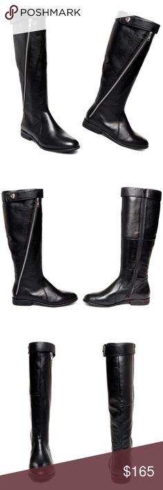 Steve Madden Leather Riding Boots Classic flat riding boots with an extra twist. Decorative outside zipper and wrap-around strap at top of boot with snap closure for a sleek modern look. Genuine natural leather, black with silver hardware. Perfect fall essential for every outfit! No trades! PRICE IS FIRM!!    1 inch heel height 15 inch shaft circumference 16 inch shaft height Functional inside zipper; decorative outside zipper Steve Madden Shoes Combat & Moto Boots
