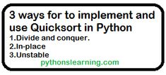 How to implement and use Quicksort in Python | python Quicksort is a popular sorting algorithm and is often used right alongside Merge Sort. Python, Sorting, Popular, Education, Popular Pins, Onderwijs, Learning, Most Popular