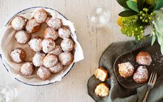 Master the art of making beignets with this fun recipe, which is spiked with the delicious flavour combination of coconut and lime. Beignets, Fritters, Scones, Muffins, Deserts, Good Food, Lime, Coconut, Cupcakes