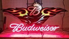 RARE BUDWEISER DRAFT LIGHT FLAMES BEER NEON LIGHTED SIGN