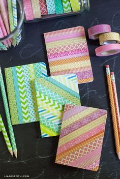 Beautiful! /// Washi Tape Your Pencils and Notebooks....This would also be great to do to plain manila folders for school!!!