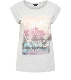 Grey Miami Beach Roll Sleeve T-Shirt