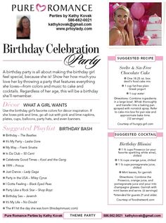 Pure Romance Theme Parties. Book your Pure Romance party with me @ www.pureromance.com/DianaSchoenlein
