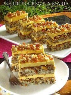Prajitura Regina Maria Romanian Desserts, Romanian Food, Layered Desserts, Small Desserts, Special Recipes, Unique Recipes, Sweet Pastries, Desert Recipes, Dessert Bars