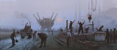 'long day' - new illustration from upcoming Scythe game, based on my 1920+ universe & paintings, cheers!
