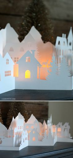 Paper Cut Winter Village for Your Holiday Decorations - 16 Winter Wonderland DIY Paper Decorations