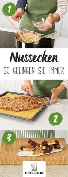 Nussecken Home Inspiration my inspiration at home recipes No Bake Desserts, Dessert Recipes, Appetizer Recipes, German Baking, Sweet Bakery, Cookies, Christmas Baking, Food Inspiration, Sweet Recipes