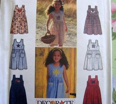 SIMPLICITY sewing Pattern 7155 - SZ 3-6 Dress - Jumper +APPLIQUES