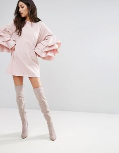 PrettyLittleThing Pink Shift Dress With Tiered Sleeves