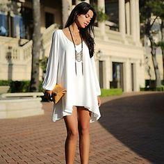 Robe en mousseline de soie Mini robes White A-line - Hippie BLiss, Plus Size Womens Clothing, Clothes For Women, Long Sleeve Chiffon Dress, Sleeve Dresses, Chiffon Dresses, Dress Long, Flowing Dresses, Floryday Vestidos, Short Dresses