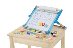 Melissa & Doug Double-Sided Magnetic Tabletop Art Easel - Dry-Erase Board and Chalkboard, Multicolor Easel Activities, Easels For Sale, Kids Chalkboard, Paper Roll Holders, Colored Chalk, Art Easel, Wooden Easel, Melissa & Doug, Dry Erase Board