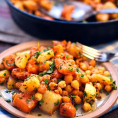 Sweet potato, turnip and chickpea hash - A lovely rustic dish with rich flavours all working beautifully together. Vegan and gluten-free!