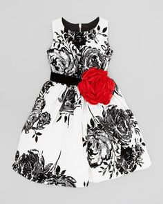 Flocked-Rose Party Dress, White/Black  by Zoe at Neiman Marcus.