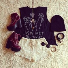 Gorgeous lace shorts skirt with top tee cropped blouse and shining dark brown high heels boots and black cap and goggles and gold moon chain necklace the perfect summer outfits
