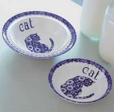 Cat bowls Cat Bowl, Color Combos, Bowls, Animal, Tableware, Style, Dishes, Cat Design, Art