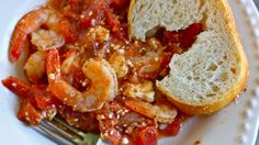 """Saucy Greek Baked Shrimp"" - Try this quick and tasty dinner of Greek baked shrimp and don't forget extra bread to soak up the sauce"